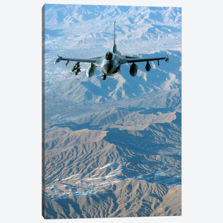 A US Air Force F-16C Fighting Falcon In Flight Over Afghanistan Canvas Print #TRK622} by Stocktrek Images Art Print