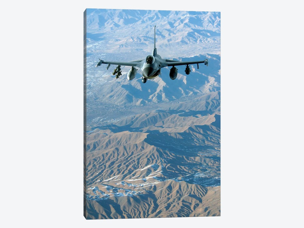 A US Air Force F-16C Fighting Falcon In Flight Over Afghanistan by Stocktrek Images 1-piece Canvas Print