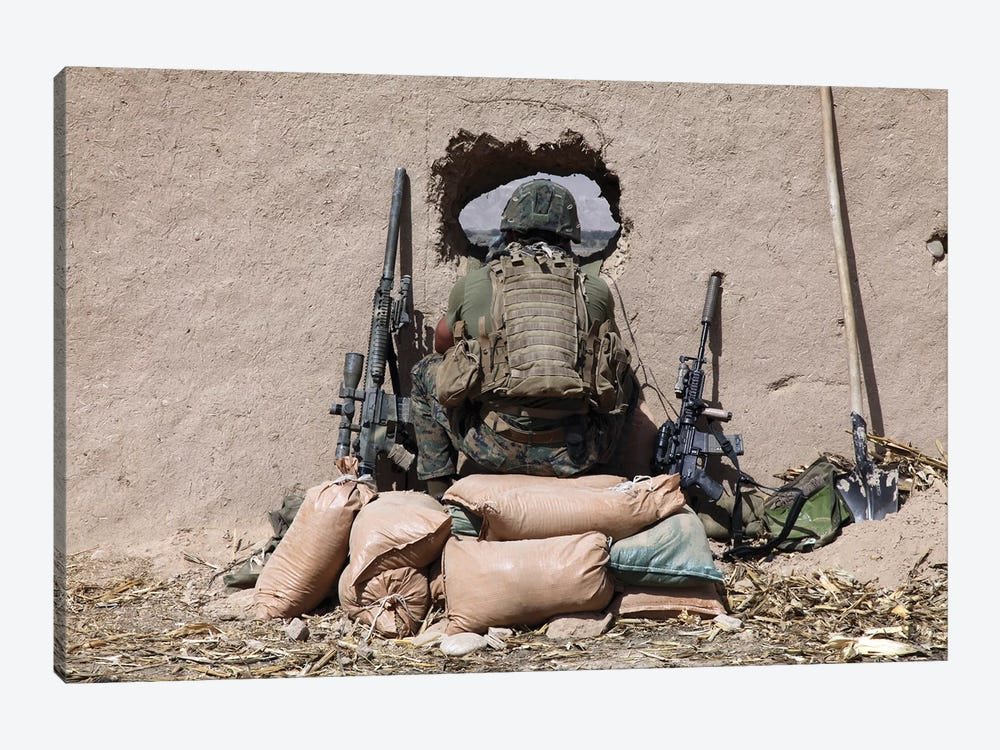 A US Marine Sniper Observes His Sector At A Patrol Base Near Sangin, Afghanistan by Stocktrek Images 1-piece Canvas Print