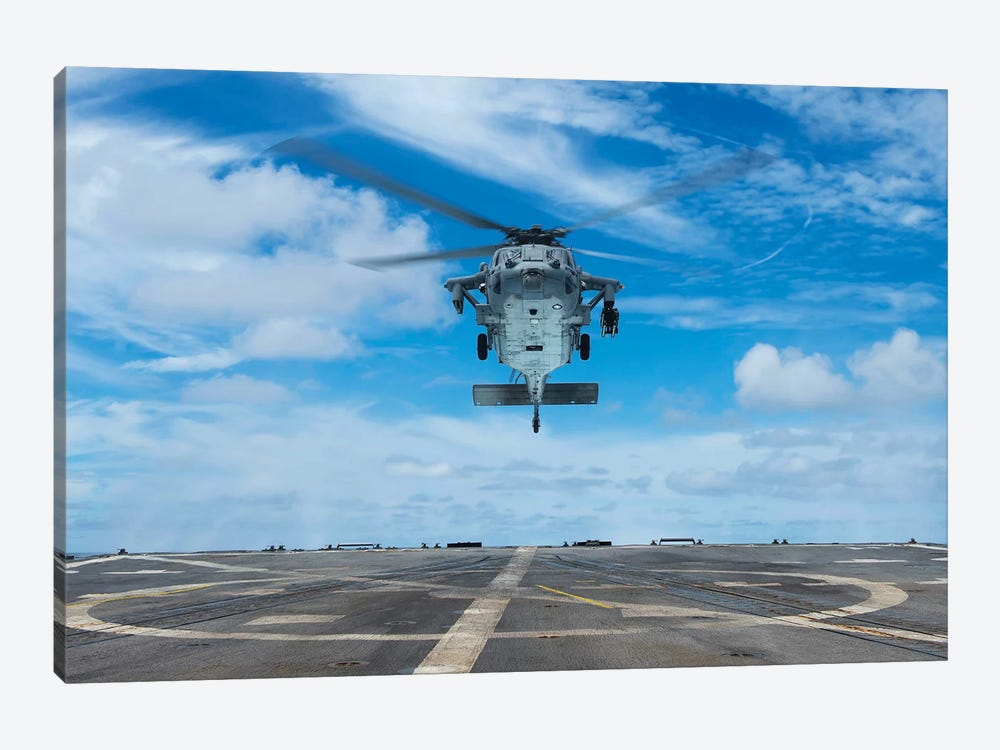 A US Navy MH-60S Seahawk Helicopter Prepares To Land by Stocktrek Images 1-piece Canvas Wall Art