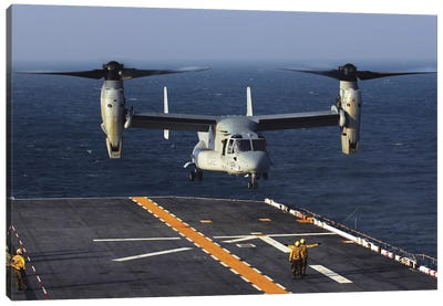 A V-22 Osprey Aircraft Prepares To Land Aboard The USS Bataan In The Atlantic Ocean Canvas Art Print