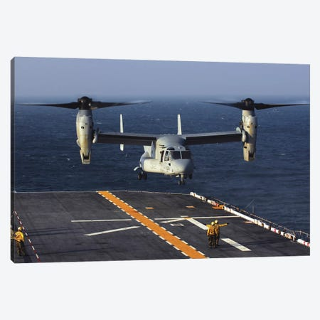 A V-22 Osprey Aircraft Prepares To Land Aboard The USS Bataan In The Atlantic Ocean Canvas Print #TRK644} by Stocktrek Images Canvas Wall Art