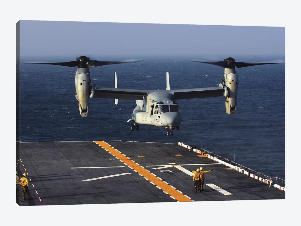 A V-22 Osprey Aircraft Prepares To Land Aboard The USS Bataan In The Atlantic Ocean by Stocktrek Images 1-piece Canvas Art Print