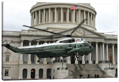 A VH-3 Helicopter Lands In Front Of The Capitol Building Canvas Art Print