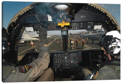 A View From The Tactical Coordinator's Position Aboard A US Navy S-3B Viking Aircraft Canvas Art Print