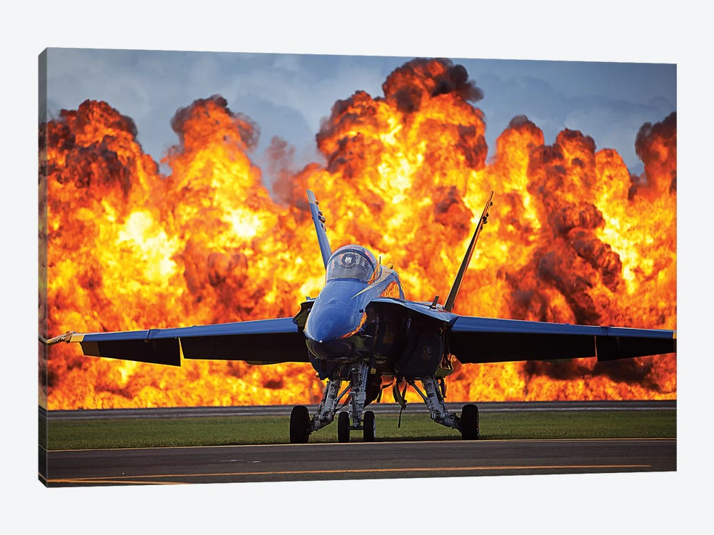 A Wall Of Fire Erupts Behind A US Navy F/A-18 Hornet Aircraft by Stocktrek Images 1-piece Canvas Artwork