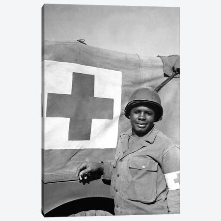A WWII Soldier Stands Next To His Red Cross Vehicle Canvas Print #TRK649} by Stocktrek Images Canvas Print