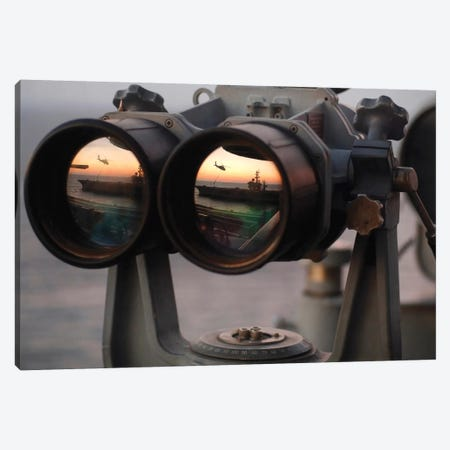 Aircraft Carrier USS Dwight D. Eisenhower Is Reflected In A Set Of Big Eyes Binoculars Canvas Print #TRK658} by Stocktrek Images Canvas Artwork