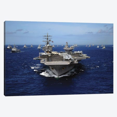 Aircraft Carrier USS Ronald Reagan Leads A Mass Formation Of Ships Through The Pacific Ocean Canvas Print #TRK659} by Stocktrek Images Canvas Wall Art