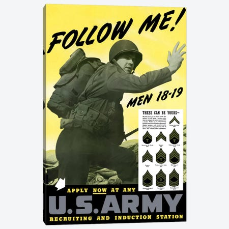 Vintage US Army Recruitment Poster Canvas Print #TRK65} by John Parrot Canvas Art Print