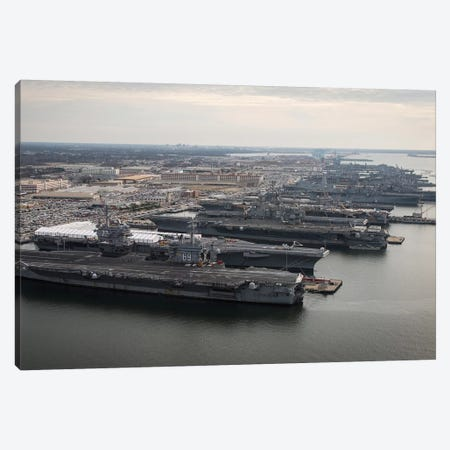 Aircraft Carriers In Port At Naval Station Norfolk, Virginia I Canvas Print #TRK660} by Stocktrek Images Canvas Art Print