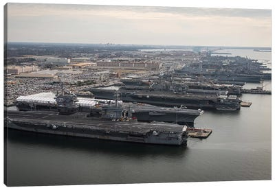 Aircraft Carriers In Port At Naval Station Norfolk, Virginia I Canvas Art Print