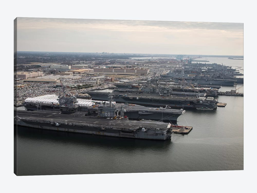 Aircraft Carriers In Port At Naval Station Norfolk, Virginia I by Stocktrek Images 1-piece Art Print