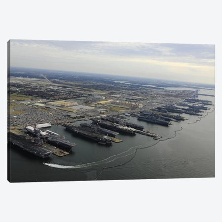 Aircraft Carriers In Port At Naval Station Norfolk, Virginia II Canvas Print #TRK661} by Stocktrek Images Canvas Print
