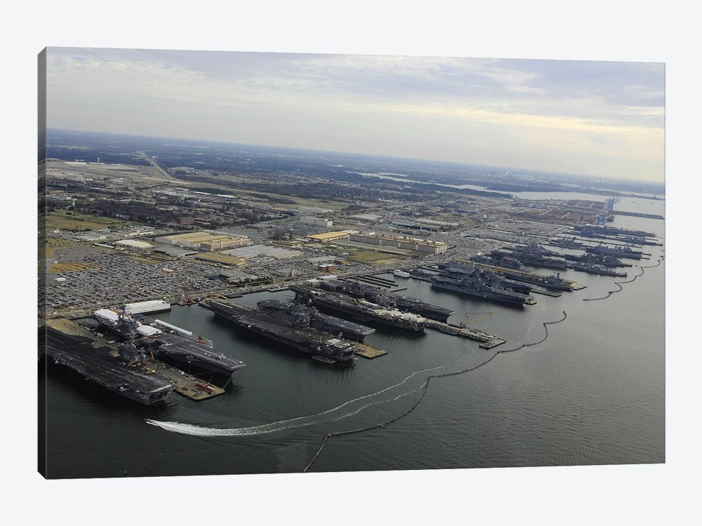 Aircraft Carriers In Port At Naval Station Norfolk, Virginia II by Stocktrek Images 1-piece Canvas Art