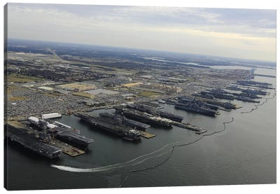 Aircraft Carriers In Port At Naval Station Norfolk, Virginia II Canvas Art Print