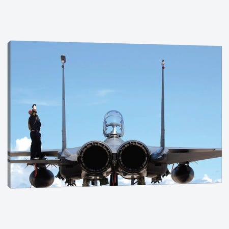 Airman Checks An F-15E Strike Eagle For Airframe Damage Canvas Print #TRK663} by Stocktrek Images Canvas Art Print