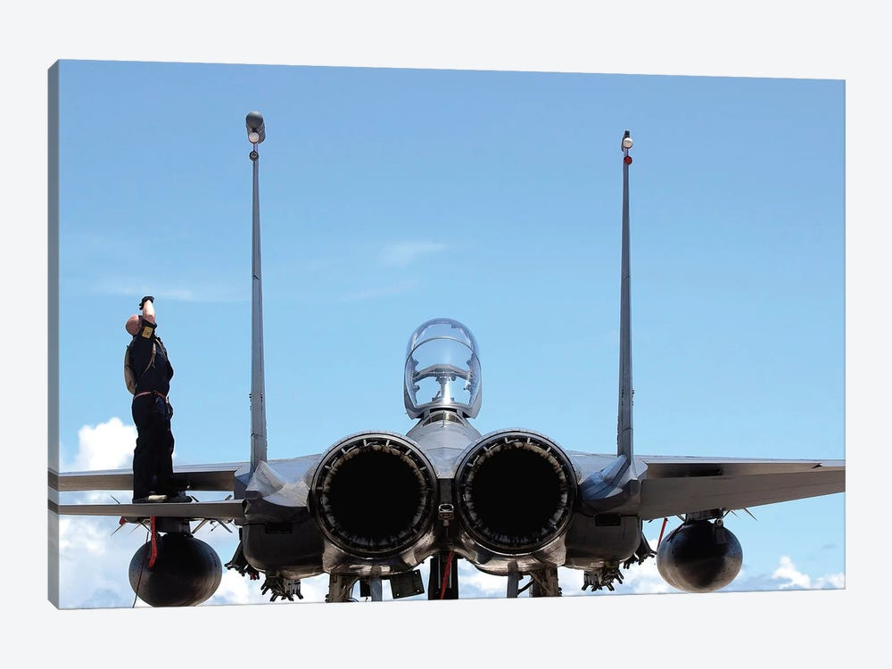 Airman Checks An F-15E Strike Eagle For Airframe Damage by Stocktrek Images 1-piece Canvas Artwork