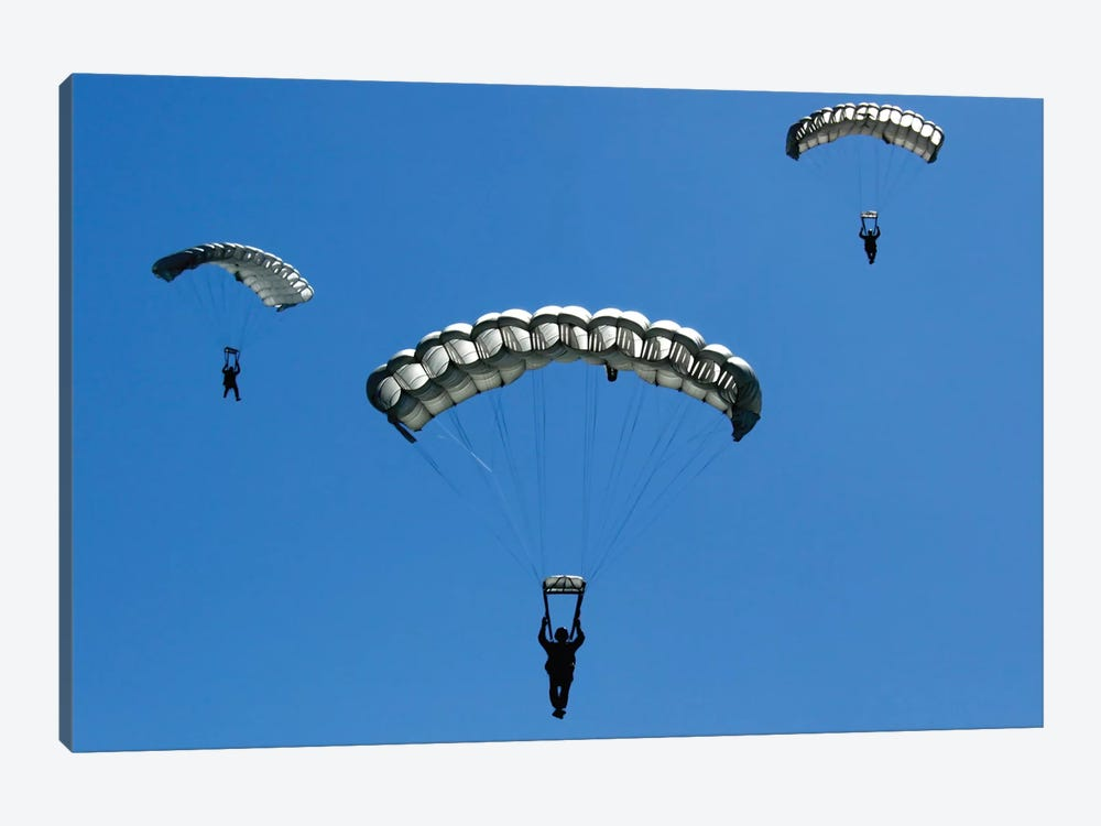 Airmen Perform A High Altitude Low Opening (Halo) Training Exercise by Stocktrek Images 1-piece Art Print
