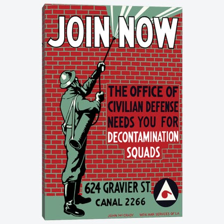 Vintage WPA Poster Of A Man Decontaminating A Brick Building Canvas Print #TRK66} by John Parrot Canvas Art Print