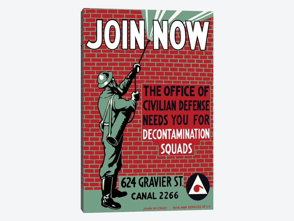 Vintage WPA Poster Of A Man Decontaminating A Brick Building by John Parrot 1-piece Canvas Print