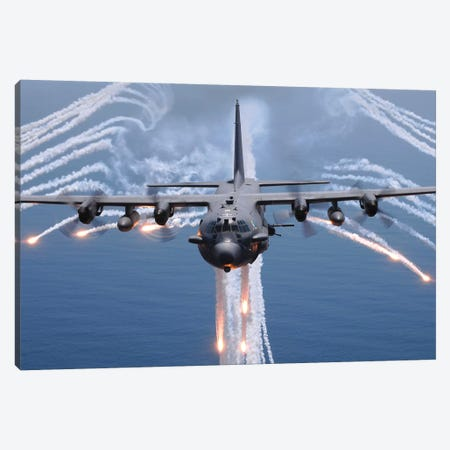 An AC-130H Gunship Aircraft Jettisons Flares As An Infrared Countermeasure Canvas Print #TRK677} by Stocktrek Images Canvas Art Print