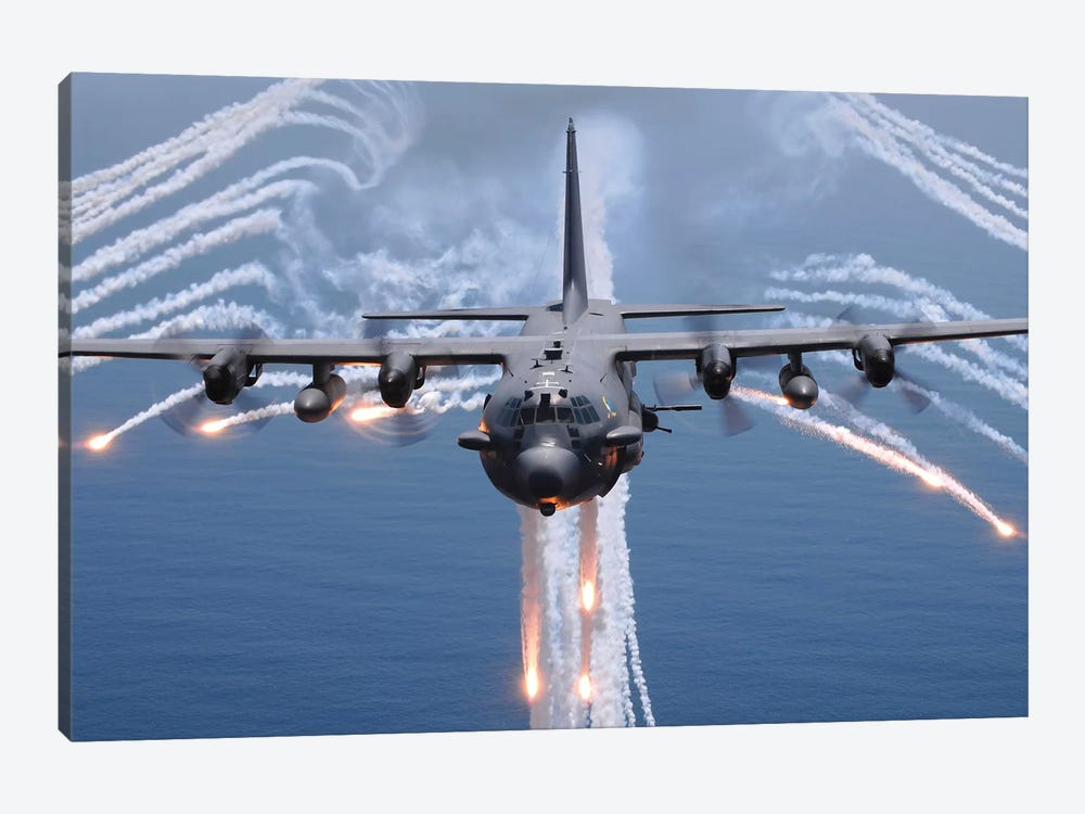 An AC-130H Gunship Aircraft Jettisons Flares As An Infrared Countermeasure by Stocktrek Images 1-piece Canvas Art Print