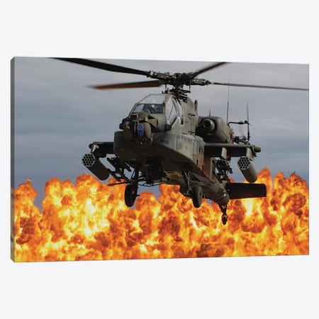 An Ah-64D Apache Longbow During A Combined Arms Demonstration Canvas Print #TRK679} by Stocktrek Images Canvas Artwork
