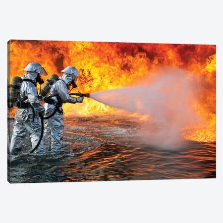 An Aircraft Rescue Firefighting Team Attempts To Spray Out A Fuel Fire Canvas Print #TRK681} by Stocktrek Images Canvas Art Print