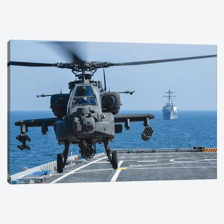 An Army Ah-64D Apache Helicopter Takes Off From USS Ponce Canvas Print #TRK684} by Stocktrek Images Canvas Wall Art