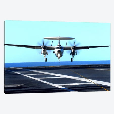 An E-2C Hawkeye Approaches For Landing Aboard USS John C. Stennis Canvas Print #TRK690} by Stocktrek Images Canvas Art