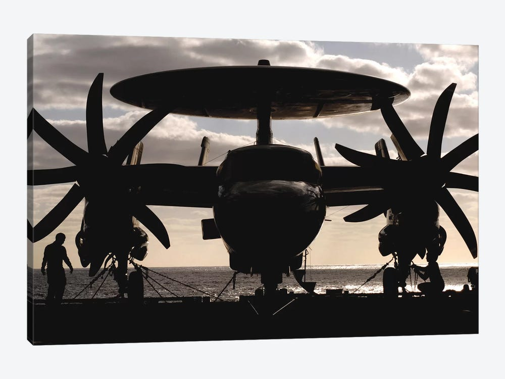 An E-2C Hawkeye Secured To The Flight Deck Of USS Harry S. Truman by Stocktrek Images 1-piece Canvas Artwork