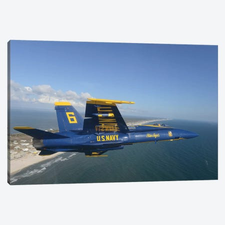 An F/A-18 Hornet From The Blue Angels Flies A Training Sortie Canvas Print #TRK697} by Stocktrek Images Canvas Print