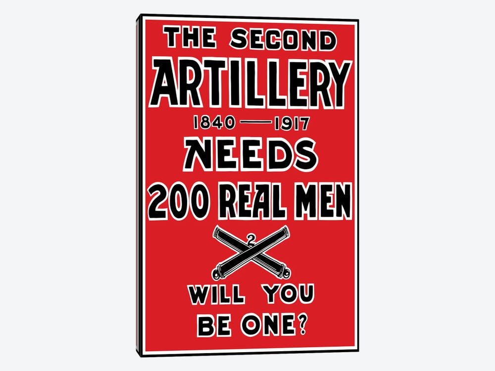 Vintage WWI 2nd Artillery Recruitment Poster by John Parrot 1-piece Canvas Wall Art
