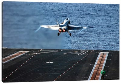An F/A-18C Hornet Launches From Aircraft Carrier USS John C. Stennis Canvas Art Print