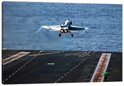 An F/A-18C Hornet Launches From Aircraft Carrier USS John C. Stennis Canvas Art Print