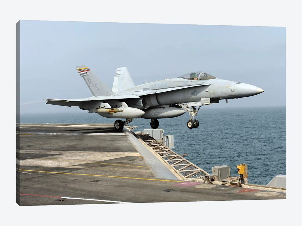An F/A-18C Hornet Launches From The Aircraft Carrier USS Harry S. Truman by Stocktrek Images 1-piece Art Print