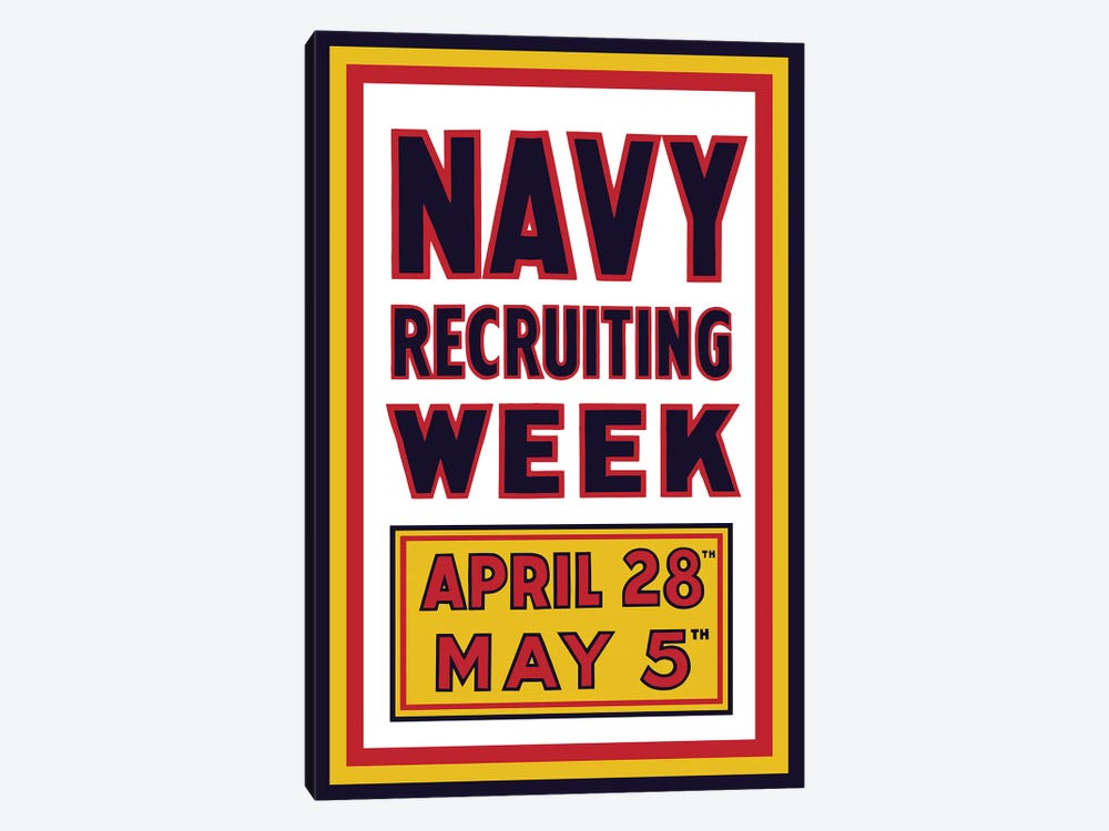 Vintage WWI Navy Recruiting Week Poster by John Parrot 1-piece Canvas Wall Art