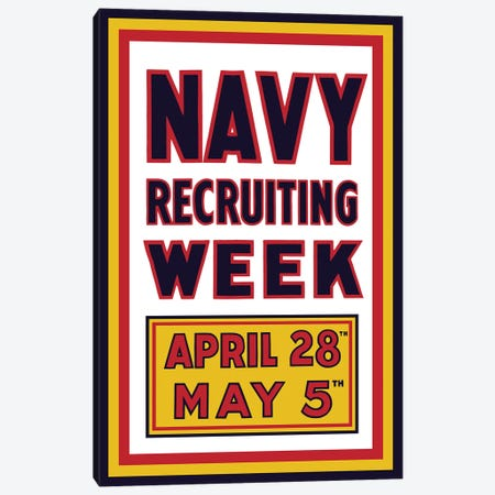 Vintage WWI Navy Recruiting Week Poster Canvas Print #TRK70} by John Parrot Canvas Art Print