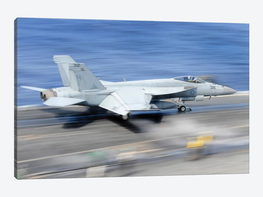 An F/A-18E Super Hornet Launches From The Aircraft Carrier USS George Washington 1-piece Art Print