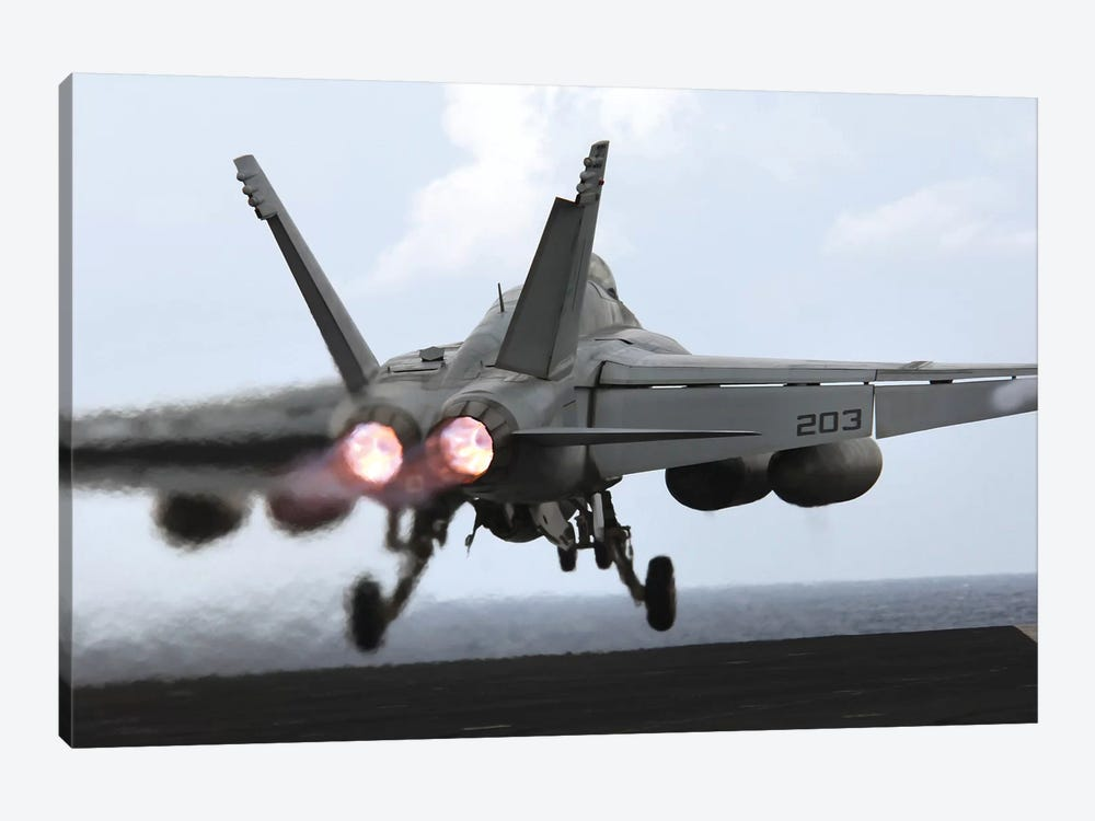 An F/A-18E Super Hornet Launches Off The Flight Deck Of USS Kitty Hawk by Stocktrek Images 1-piece Canvas Artwork