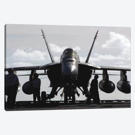 An F/A-18E Super Hornet On The Flight Deck Aboard USS Ronald Reagan Canvas Print #TRK712} by Stocktrek Images Canvas Art Print