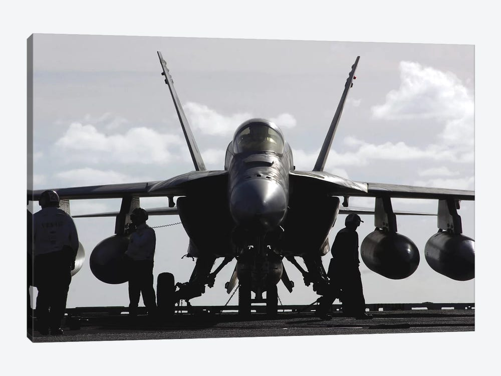 An F/A-18E Super Hornet On The Flight Deck Aboard USS Ronald Reagan 1-piece Canvas Print