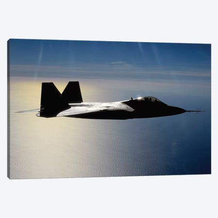 An F/A-22 Raptor Flies A Training Mission II Canvas Print #TRK717} by Stocktrek Images Canvas Art