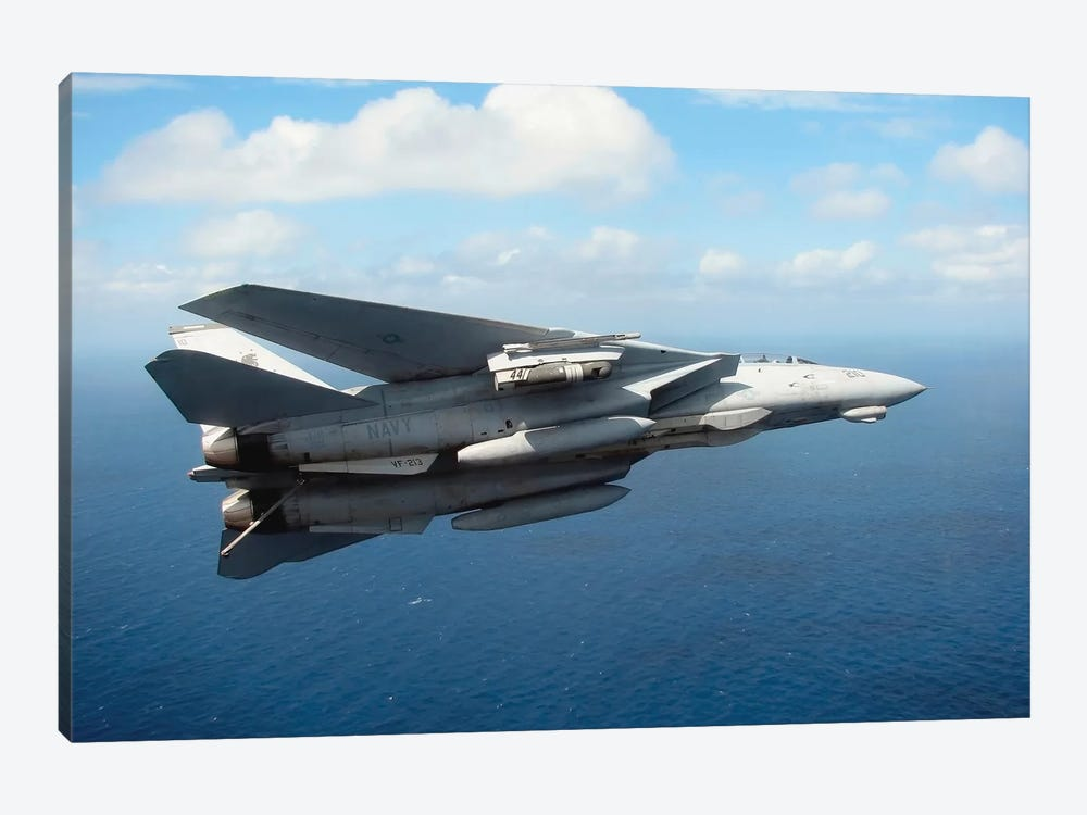 An F-14D Tomcat Banks With Its Tailhook Lowered In Preparation For Landing by Stocktrek Images 1-piece Canvas Wall Art