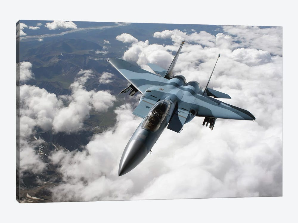 An F-15C Aggressor Flies Over A Mountain Range by Stocktrek Images 1-piece Canvas Print