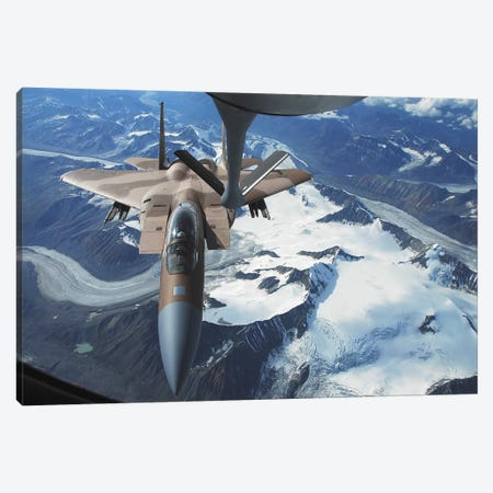 An F-15C Eagle Aircraft Sits Behind A KC-135R Stratotanker Canvas Print #TRK726} by Stocktrek Images Canvas Art Print
