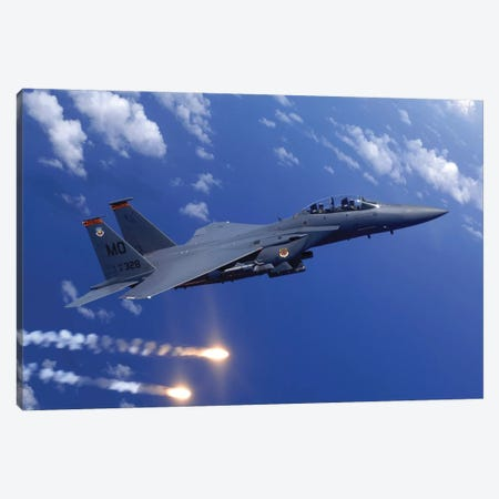 An F-15E Strike Eagle Fires Flares During An Aerial Training Dog Fight Off The Coast Of Guam Canvas Print #TRK727} by Stocktrek Images Art Print