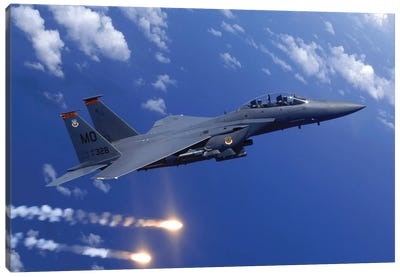 An F-15E Strike Eagle Fires Flares During An Aerial Training Dog Fight Off The Coast Of Guam Canvas Art Print