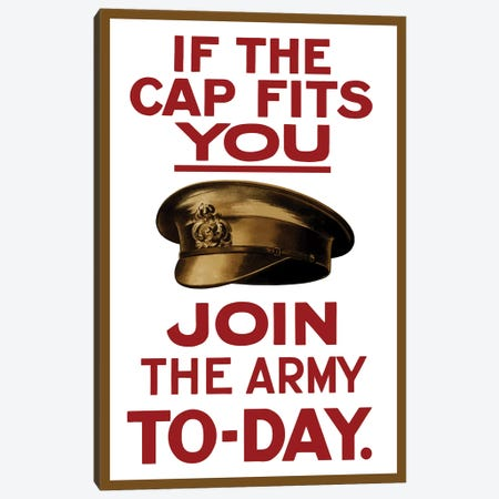 Vintage WWI Poster Of A British Army Hat Canvas Print #TRK72} by John Parrot Canvas Art Print